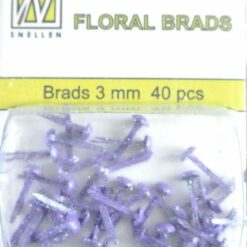 Floral brads - 3mm - paars glitter